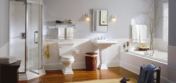 The Town Square Suite is the first suite of bathroom fixtures, faucets and accessories designed as one complete solution for new and remodeled bathrooms of any size. It's more than a suite; it's a totally coordinated bathroom system.